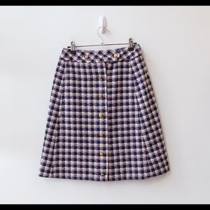 1970's Houndstooth Skirt W/ Gold Buttons